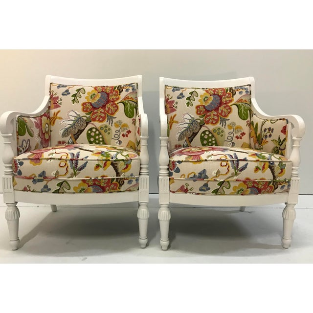 Sweet pair of upholstered chairs that just came back from restoration. New foam and padding. New White satin painted...