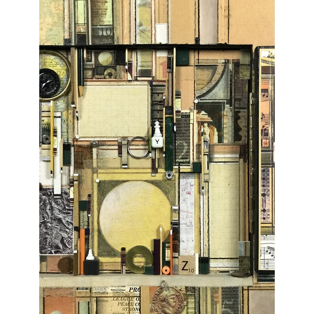 """Mixed Media Collage Collagraph Painting by Roderick Slater """"Between Two Points"""" For Sale In Boston - Image 6 of 13"""