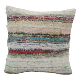 Vintage Handmade Striped Kilim Pillow Cover For Sale