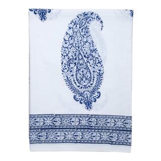 Malabar Large Paisley Flat Sheet, Queen - Deep Blue For Sale