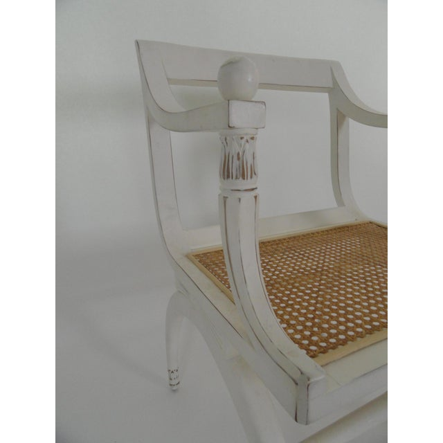Wood 1970s Vintage Regency Style Cane Seat Chair For Sale - Image 7 of 9