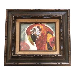 Vintage Original Parrot Watercolor Painting Ornate Vintage Frame For Sale