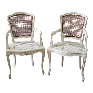 20th Century Vintage Painted Cane Back Open Arm Chairs- A Pair For Sale