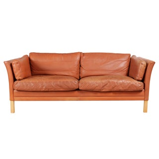 Contemporary Belgian Orange Leather Sofa For Sale