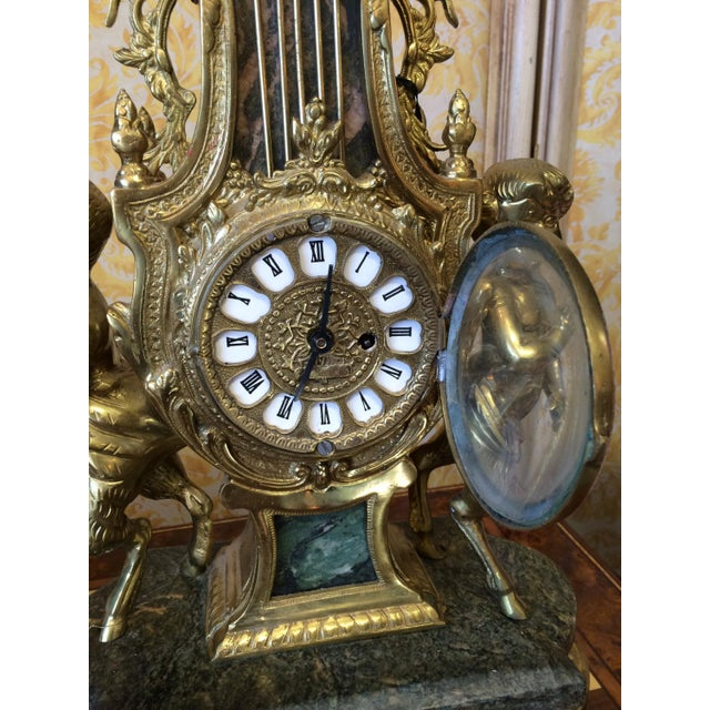 French Rococo Louis XVI French Marble & Bronze Mantel Clock For Sale - Image 3 of 6