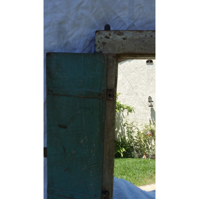 Asian 19th Century Wood Shutter with Mirror For Sale - Image 3 of 5