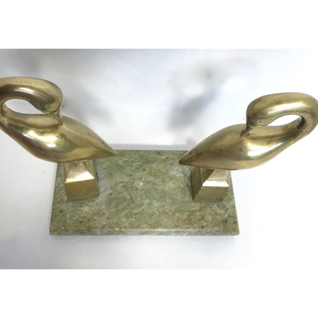 Hollywood Regency Brass Swans on Marble - Image 4 of 5