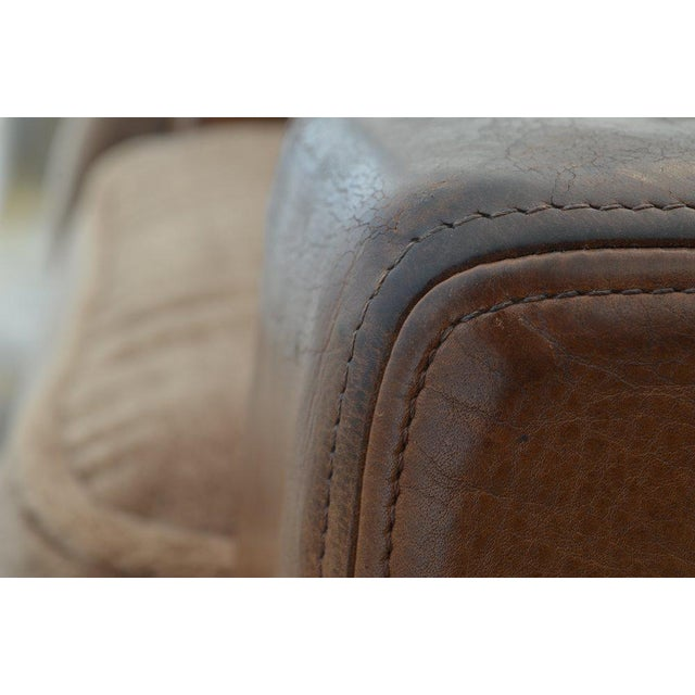 Late 20th Century Desede Leather and Mohair Club Chairs For Sale - Image 5 of 6
