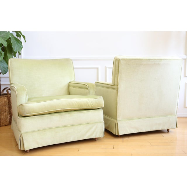Mid-Century Modern Green Velvet Club Chairs - A Pair - Image 8 of 9