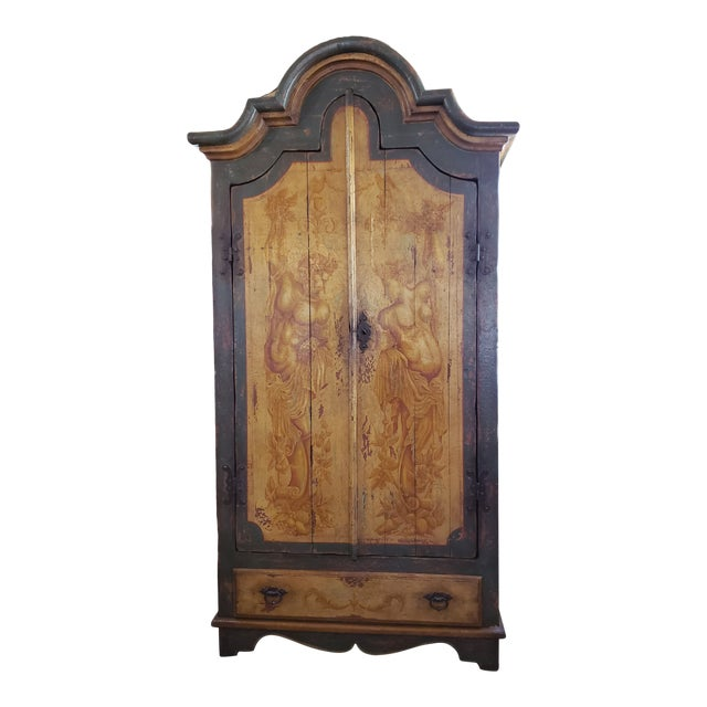 Rustic Hand Painted Arch Top Armoire For Sale