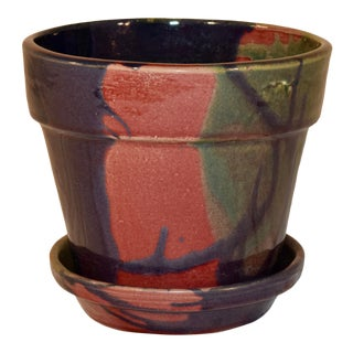 J & S Beaumont Nc Flower Pot and Saucer For Sale