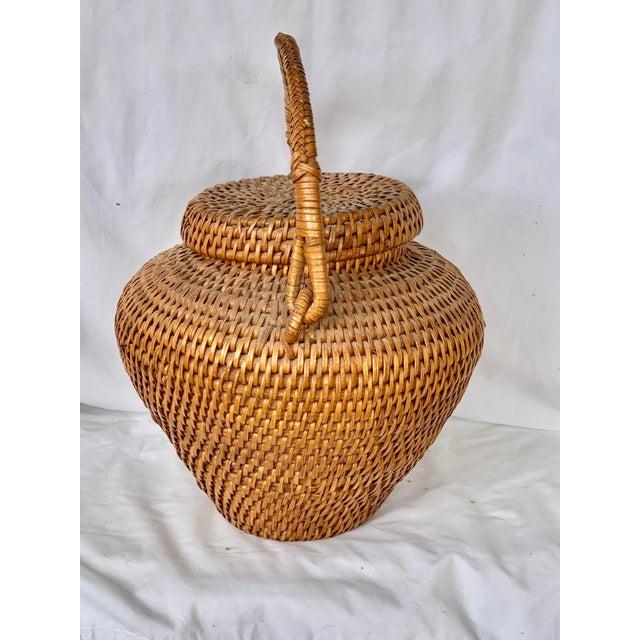 Vintage Large Lidded Basket For Sale - Image 4 of 13