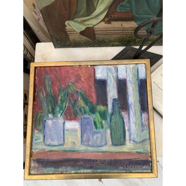 Modern 1960s French Still Life with Succulents Oil Painting, Framed For Sale - Image 3 of 4