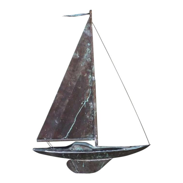 19th c. New England Folk Art Copper Sailboat Weather Vane For Sale
