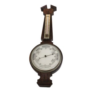 Vintage Traditional Wooden Aneroid Barometer For Sale