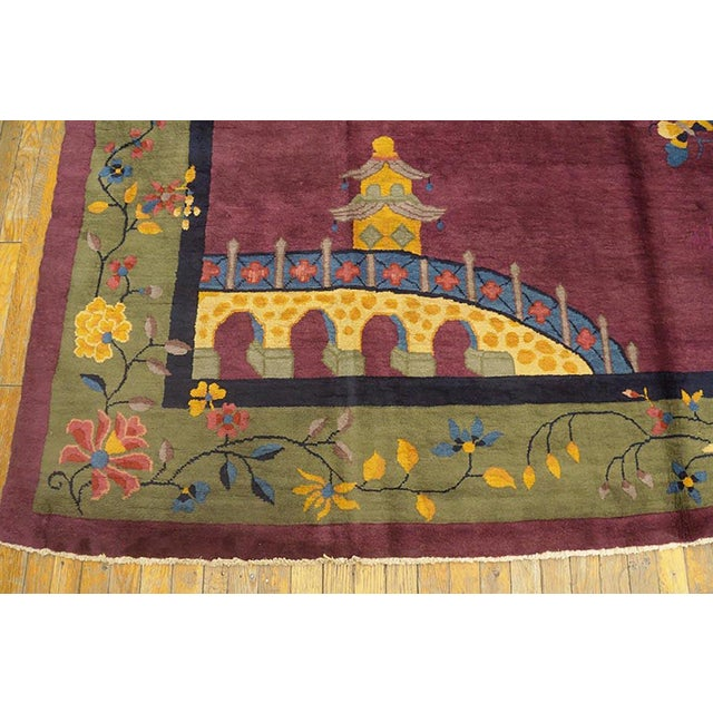 Textile 1920s Antique Chinese Art Deco Rug-9′2″ × 11′8″ For Sale - Image 7 of 8