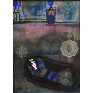 Figurative Mixed Media, Girl in Blue by Nasser Ovissi Preview