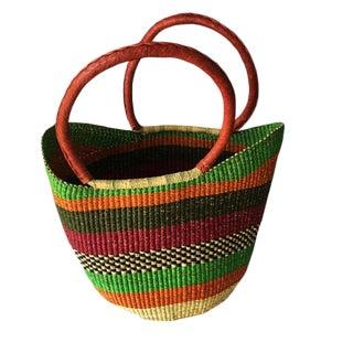African Bolga Ghana Woven Fiber Basket - Large