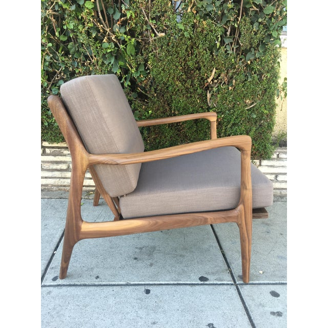 Custom Walnut Lounge Chair in Soft Taupe Gray For Sale - Image 13 of 13