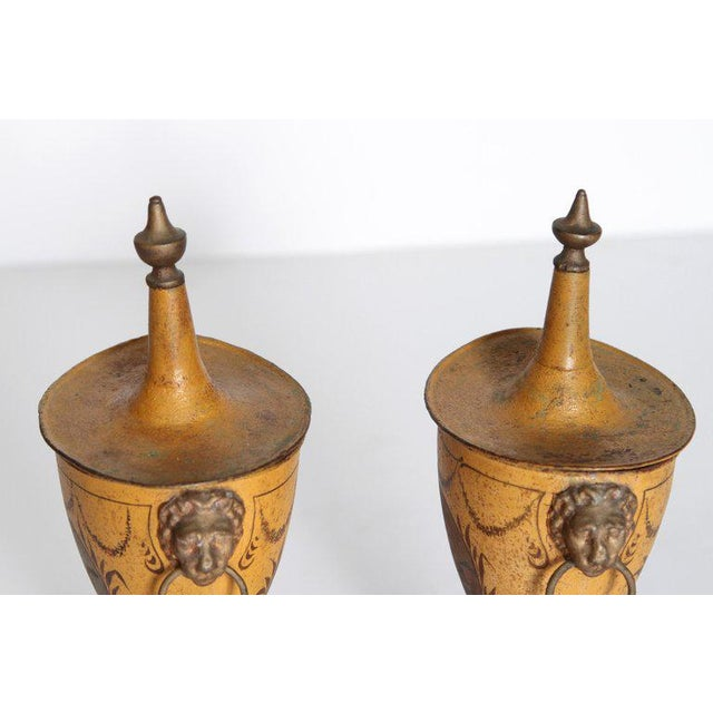 Metal A Pair of English Regency Tole Painted Chestnut Urns For Sale - Image 7 of 13