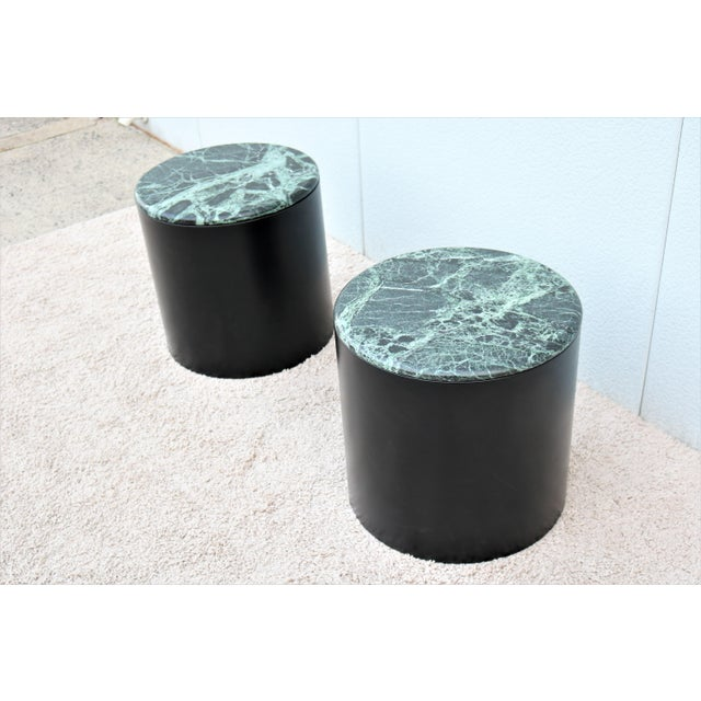 Paul Mayen Mid Century Modern Paul Mayen Style Green Marble Top Drum Side Tables - a Pair For Sale - Image 4 of 13