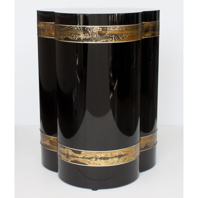 Bernhard Rohne Black Lacquer Brass Pedestal Dining Table - Image 7 of 9