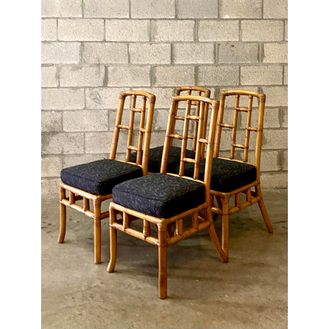 Late 20th Century Vintage Coastal Bamboo Grid Dining Chairs - Set of Four For Sale - Image 5 of 8