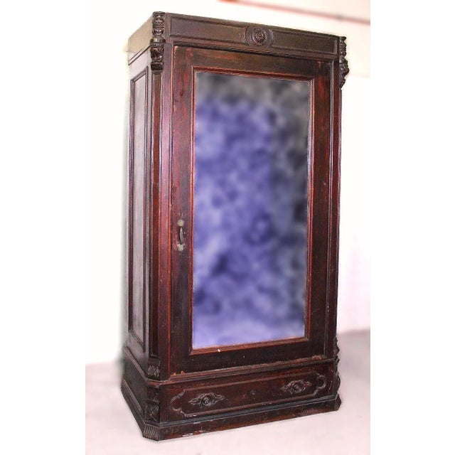 Antique Victorian American Mirrored Armoire - Image 2 of 10