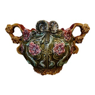 Antique French Majolica Onnaing Jardinière Pottery Floral Cache Pot Planter Vase For Sale
