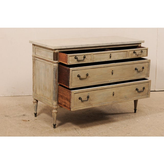 Gray Mid 19th Century French Carved Wood Commode With Limestone Top For Sale - Image 8 of 12