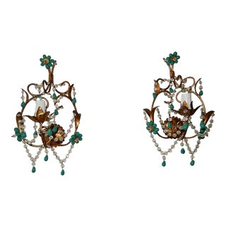 French Turquoise Green Murano Beads Rock Crystal Swags Sconces For Sale