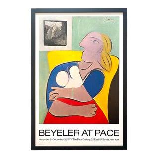 """Pablo Picasso Vintage 1971 Pace Editions Lithograph Print Framed Fine Art Exhibition Poster """" Femme Au Fauteuil Jaune """" 1932 For Sale"""
