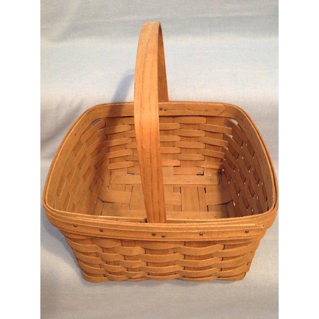 1970s Vintage Longaberger Handwoven Square Basket For Sale - Image 4 of 12