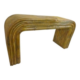 1970s Hollywood Regency Fiberglass Resin Waterfall Faux Bamboo Console For Sale