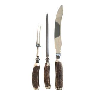 Sheffield Silver & Antler Horn Carving Set - 3 Pc. For Sale
