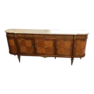 French Louis XVI Mahogany Marble Top Enfilade