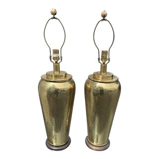 Pair of Paul Hanson Hammered Brass Lamps For Sale