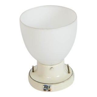 Restored Porcelain Flush Mount Fixture With Milk Glass For Sale