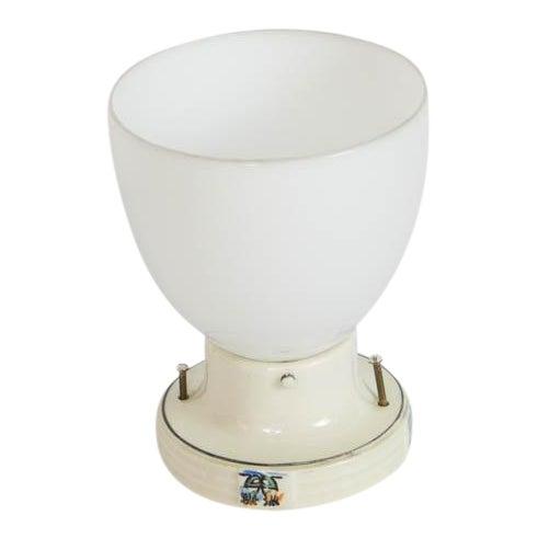 Restored Porcelain Flush Mount Fixture With Milk Glass For Sale