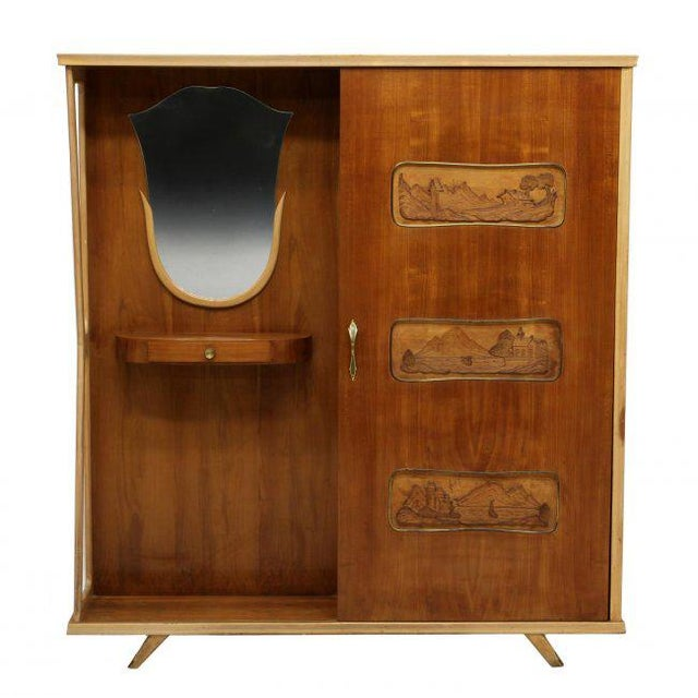 Italian Italian Mid-Century Modern Entryway Coat Cabinet For Sale - Image 3 of 4