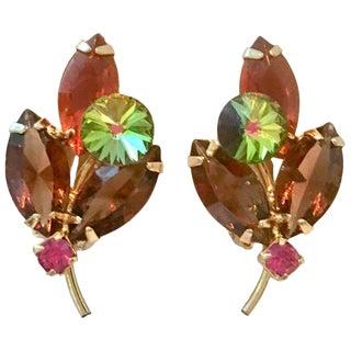"""1960's Delizza & Elster """"Juliana"""" Crystal Rhinestone Flower Earrings For Sale"""