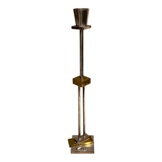 1980s Silver and Brass Candlestick by Ettore Sottsass for Swid Powell For Sale