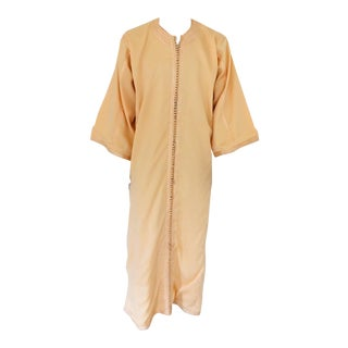 Moroccan Vintage Kaftan Gentleman Yellow Gold Caftan, Circa 1970 For Sale