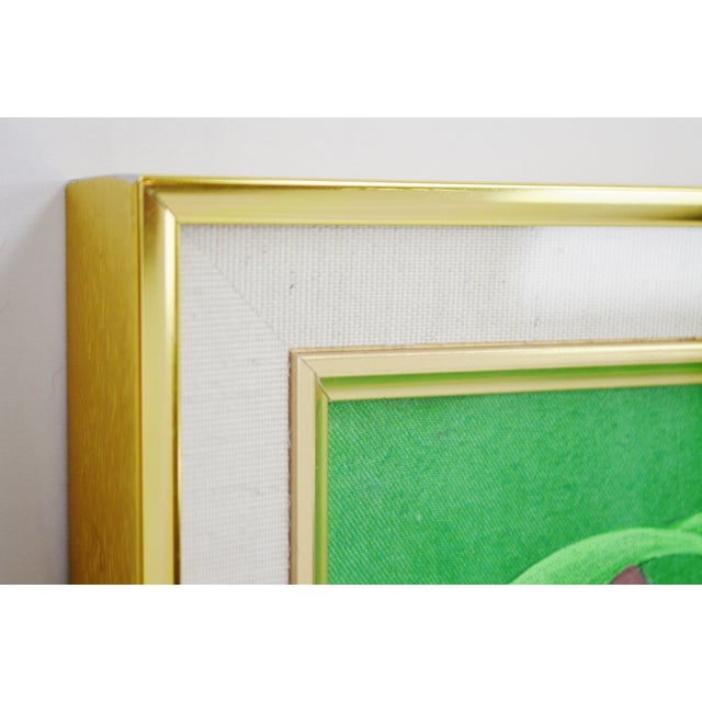 Large Art Deco Textile Art Painting Professionally Framed - Image 9 of 11