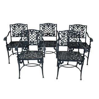 Quality Set of 5 Cast Aluminum Rococo Style Patio Dining Arm Chairs For Sale