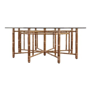 McGuire California Modern Octagonal Bamboo Rattan Dining Table For Sale