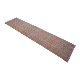 """Faded Colors Runner Low Pile Distressed Oushak Rug Runner - 2'11"""" X 12'1"""" For Sale"""