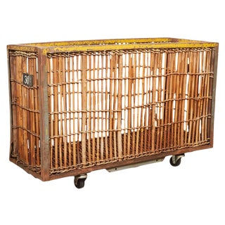 Bamboo and Iron Factory Cart For Sale