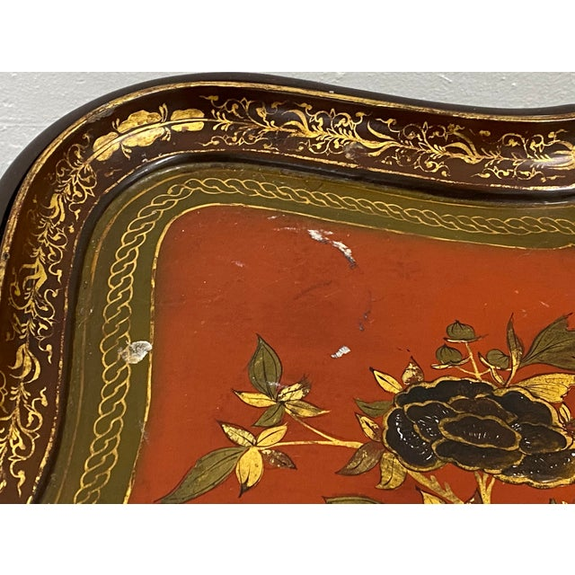 Late 19th Century 19th Century Papier Mache English Chinoiserie Tray Table For Sale - Image 5 of 9