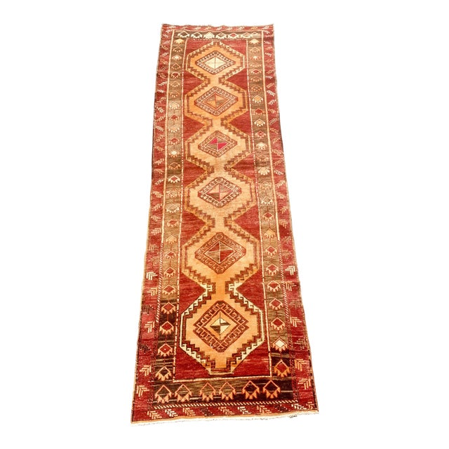 "1950's Vintage Turkish Anatolian Runner Rug - 3'2""x11'2"" For Sale"